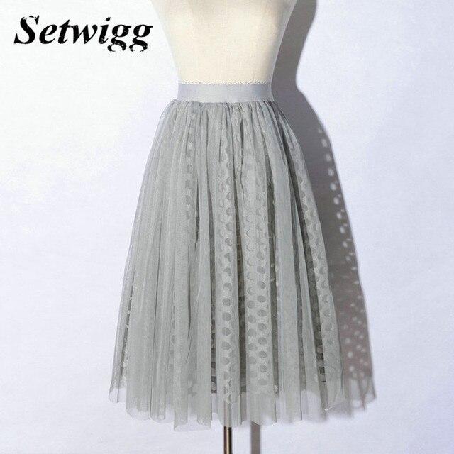 Setwigg 2017 primavera malha midi plissada de tule em camadas tutu saias estiramento cintura escavar gaze camada a-line saias longuette