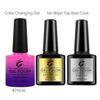 Temperature Mood Color Changing Gel Nail Polish Kit No Wipe Top Base Coat Pink Rose Grey