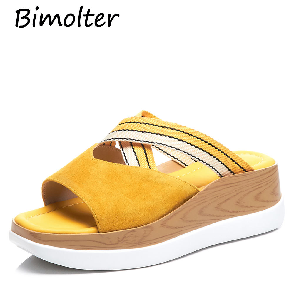 Bimolter Women Yellow Black Platform Slippers Thick Heels Flats With Footwear Casual Girl's Street Wear Summer Shoes FC086