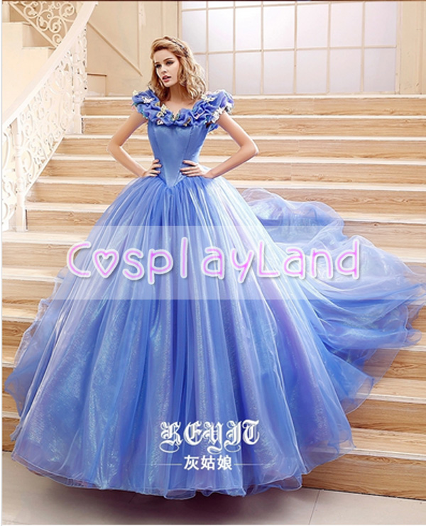 Princess Cinderella Wedding Dress Costume For: Movie Cinderella Wedding Dress Blue & White Dress Cosplay