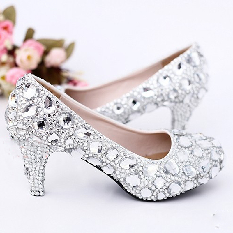 2015 Sexy Crystal Wedding Dress Shoes 5cm Middle Heel Comfortable