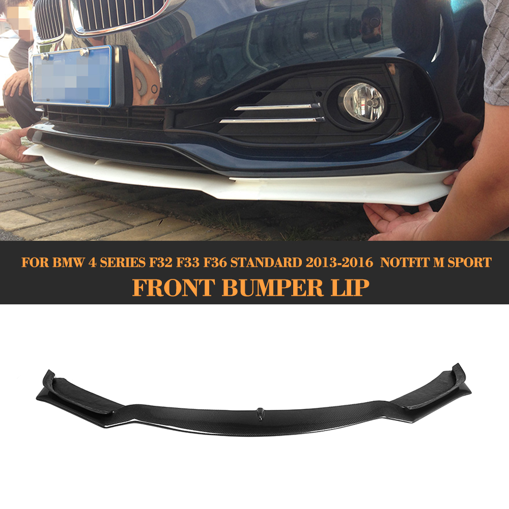 4 Series Carbon Fiber car front Bumper lip spoiler For BMW F32 F33 F36 Standard 13-16 Non Sport Convertible Black FRP 420i 428i