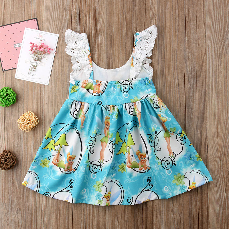 Toddler Kids Baby Girl Sleeveless Cartoon Print Party Princess Pageant Dresses