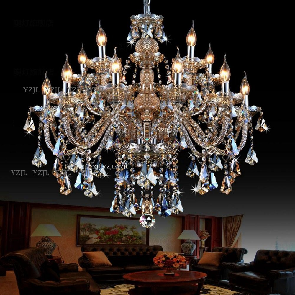 10/12/lustres de 15 adornam Cognac luz lustre de cristal Villa duplex duplo grande sala de jantar sala de estar luz lustre