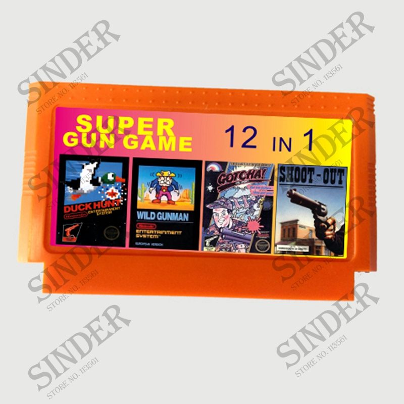 Super Gun Game 12 In 1 No Repeat 60 PINS Game Card For 8 Bit D99 Game Player