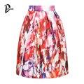 DayLook Faldas de Verano Para Mujer Multicolor Graffiti Impresión de La Vendimia Elegante de La Rodilla-Longitud Midi Skater Falda Plisada Saias