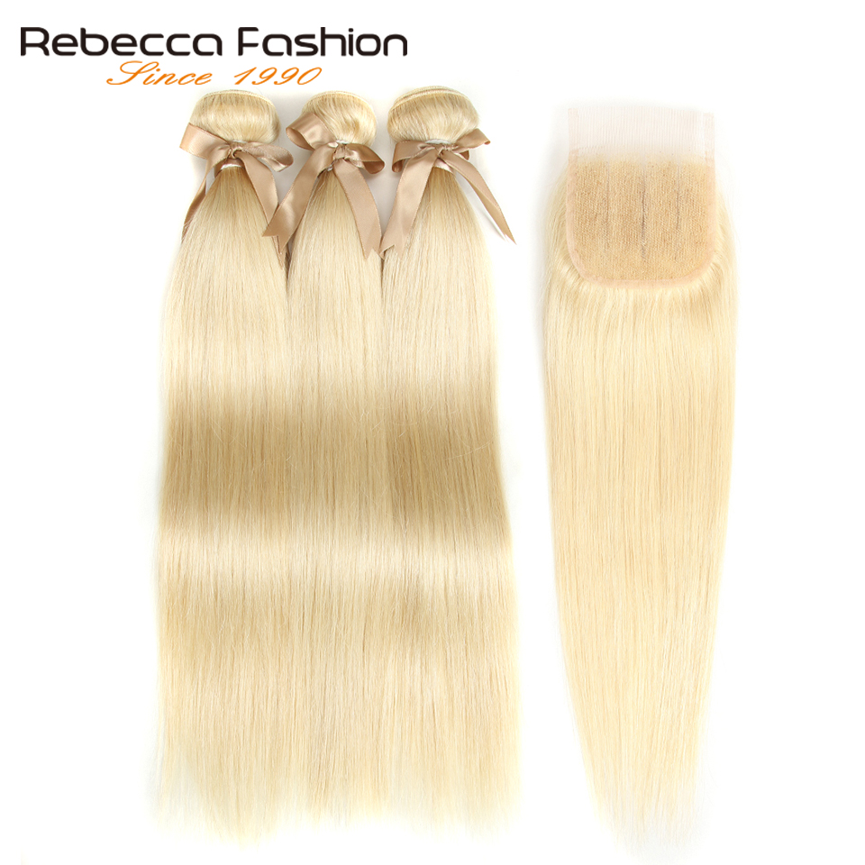 Image 2 - Rebecca 613 Blonde Bundles With Closure Malaysian Remy Straight Human Hair 3 Bundles With Closure Free Shipping-in 3/4 Bundles with Closure from Hair Extensions & Wigs