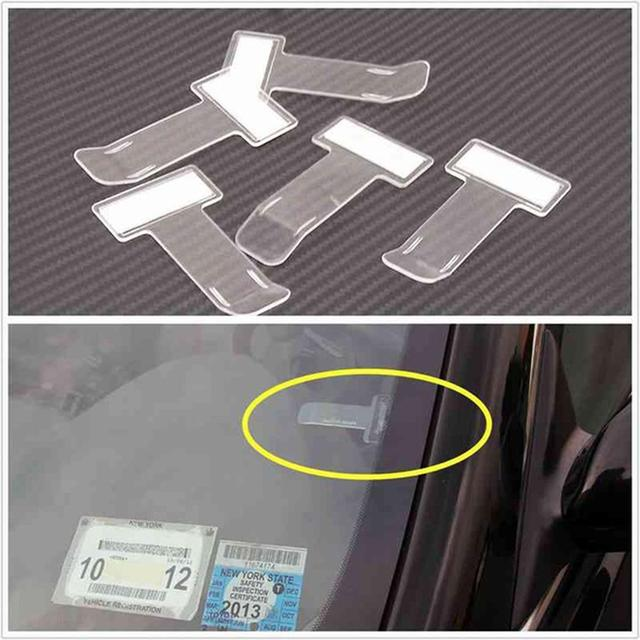 4pcs Auto Car Ticket Folder Mini T-shape Transparent Environmentally Ticket Folder Car Holder Mount Car Styling for Office Home