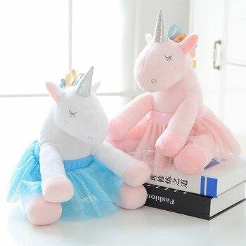 Kawaii Stuffed Toys INS New Creative Yarn Skirt Unicorn Doll Macarons Ribbon Ballet Skirt Unicornio Plush Dolls Toys for Girls stuffed toy