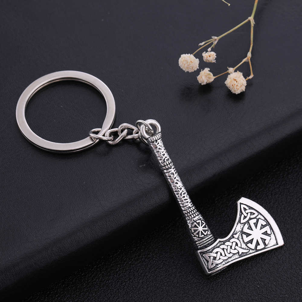 Skyrim Viking Symbol Jewelry Sun Wheel key chain Axe Thor Hammer Charm  Slavic Wicca Talisman Pendant keychains For Men Keys Gift
