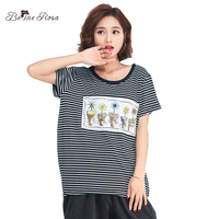BelineRosa 2018 Casual Women T Shirts Cute Flower Appliques Striped Short Sleeve Summer Ladies Tops And
