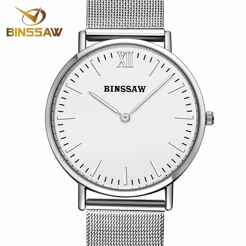 ФОТО BINSSAW new Men quartz stainless steel fashion business watch ultrathin gold China Luxury brand gift watches relogio masculino