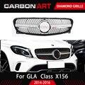 GLA Алмазная решетка Тюнинг Запчасти для Mercedes GLA X156 передний бампер передний гриль серебристый черный X156 GLA250 GLA220 GLA200 GLA260