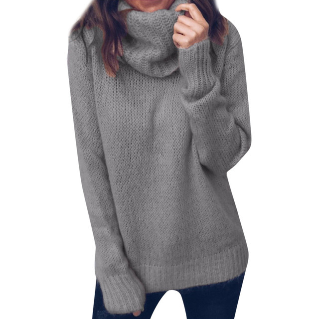a349bf9792 2018 Autumn Winter Turtleneck Sweater Women Knitted Sweater Pullover Slim  Knitwear White Warm Casual loose Jumper