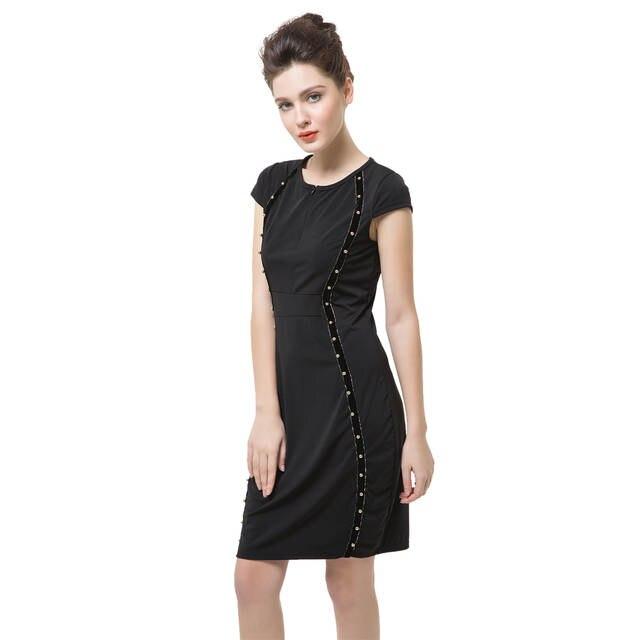 Online Shop New Fashion Women Pencil Dress Studded Decoration Zipper Front  Summer Dress Short Sleeve Mini Bodycon Fit Sexy One-Piece Black |  Aliexpress ...