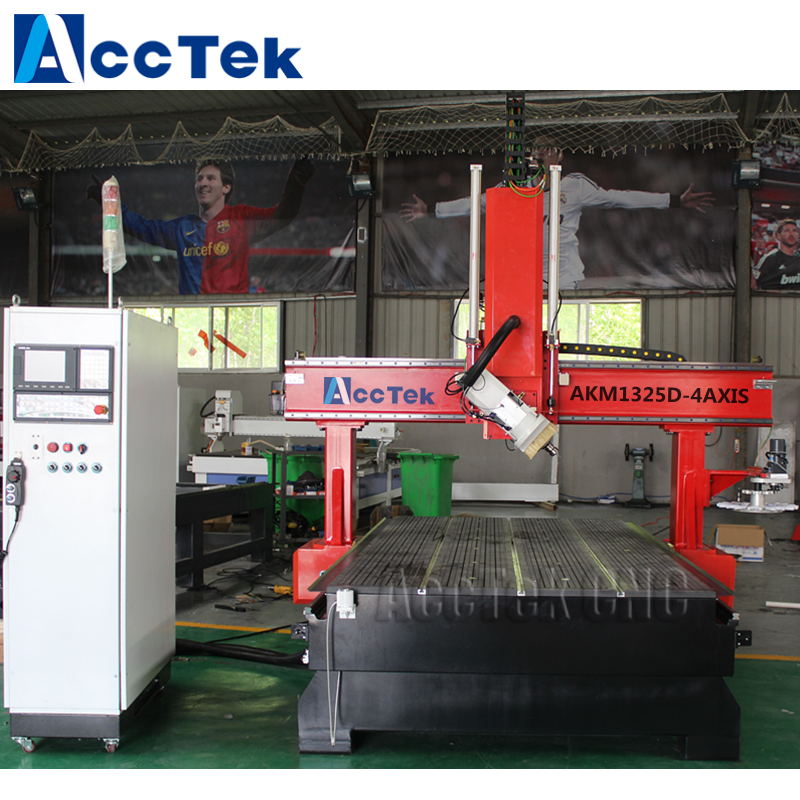 AccTek 4 Axis 180 Degree Rotation Cnc Router Big Wood Cutter Machine With Atc Air Cooled Spindle