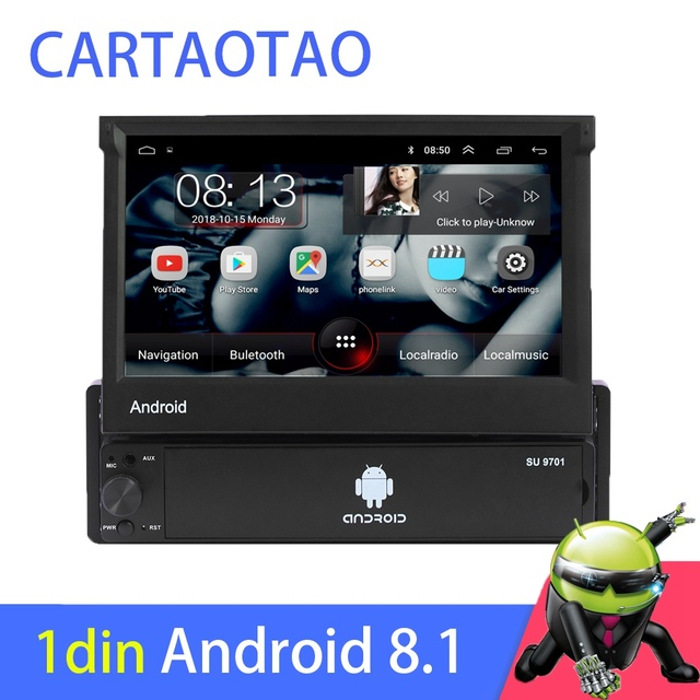 1din Android 8.1 GO Quad Core Car DVD GPS Navigation Player 7 Universa Car Radio WiFi Bluetooth MP5 Multimedia Player