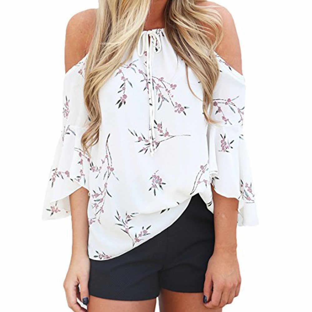 2019 moda mujer Boho encaje Floral imprimir fuera del hombro señoras suelta camisa Top Casual Blusa de manga corta verano Mujer blusa