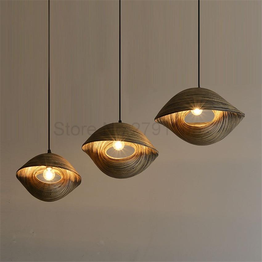 Bamboo Weaving Seashell Style Pendant Lamp Restaurant