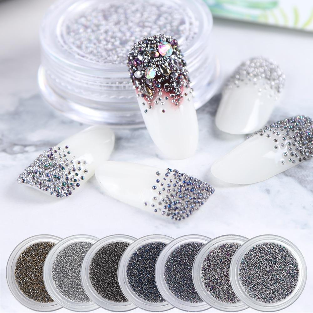 1 Box Caviar Beads 3D Nail Art Decoration Crystal Micro Rhinestones Small Round Silver Flame Stones DIY Manicure Decor JI956