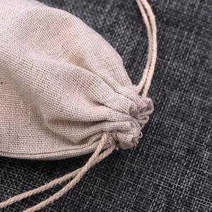 Image 3 - 100 pz/lotto Colore Naturale Sacchetti di Cotone Piccolo Lino Gift Bag Con Coulisse Mussola Sacchetto Braccialetto Gioielli Packaging Borse Sacchetti