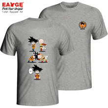 Awesome Dragon Ball One Punch Man Fusion T Shirt Casual Pop Funny T-shirt Brand Design Anime Unisex Cotton Gray Double Sided Tee