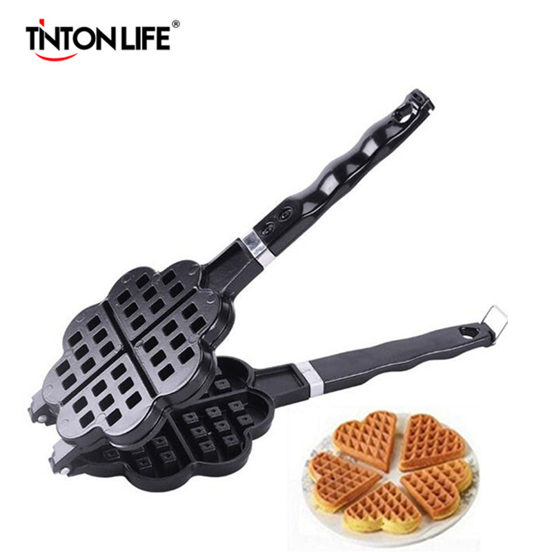 TINTON LIFE DIY Heart Shape Non-stick Metal Waffle Maker Waffle Mould kitchen Cake Baking Dish trendy non stick diy ornament