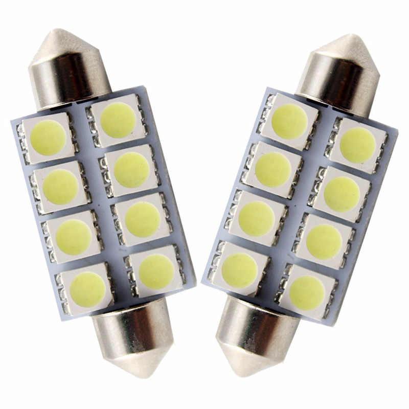 Safego 1 Pcs C5W 42 Mm 41 Mm 8 SMD 5050 LED Memperhiasi Bulb Auto Lampu Plat Nomor Mobil LED kubah Interior Lampu Bohlam Lampu 12V Putih