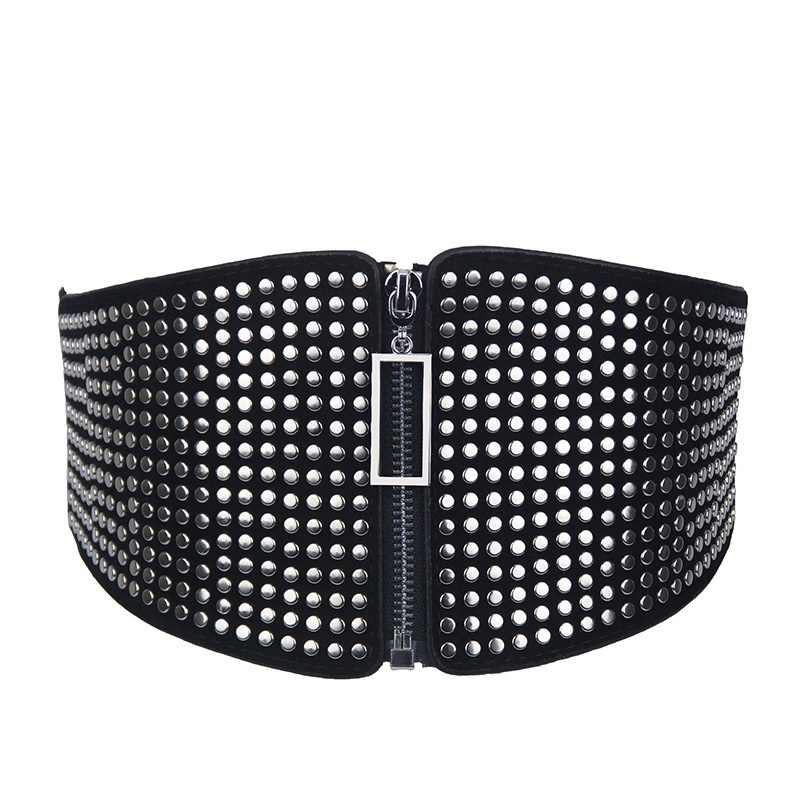 Elastic Waist Bandage Vintage Wild Waist Belt Ladies' Decorative Wide  Black Faux Leather Punk Retro Rivet Compote Belt 904-A984