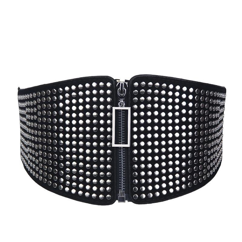 Elastic Waist Bandage Vintage Wild Waist Belt Ladies' Decorative Wide  Black Faux Leather Punk Retro Rivet Compote Belt 904-A984