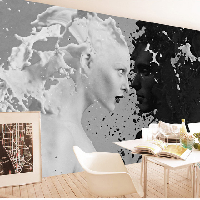 Modern Black White Wall Art Painting Photo Papers Mural Stickers 3D Living Room Bedroom Self