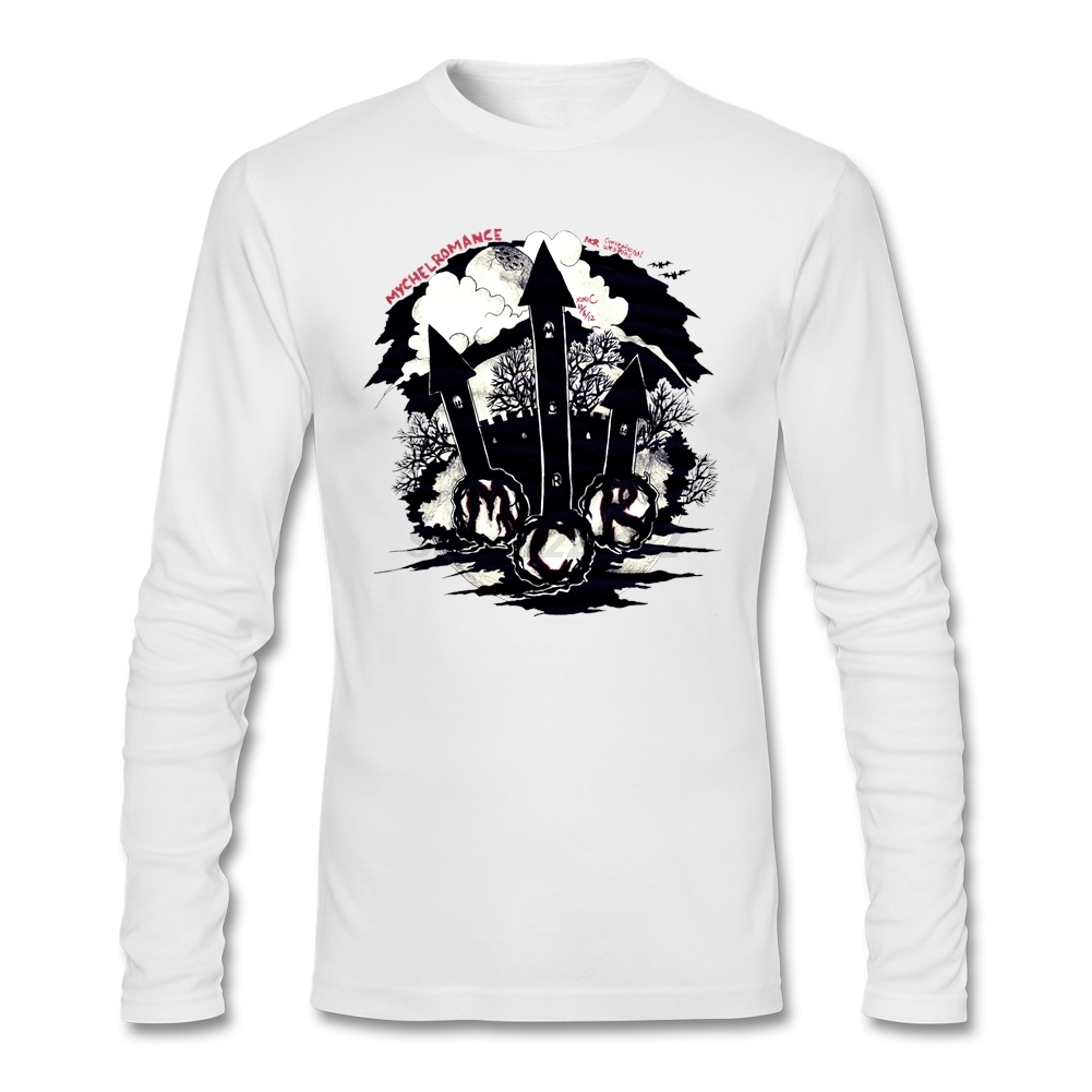 Mens music theme Printed t-shirt with My Chemical Romance favourites Music mens Tops Long Sleeve males Tee Shirts Slim Trendy