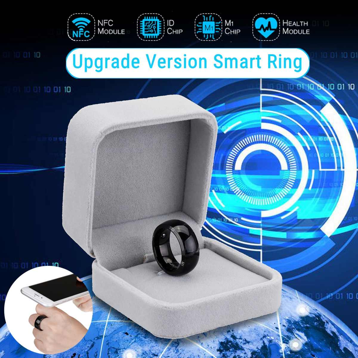 Unlock Health Protection Waterproof Smart Ring Wear New Technology Magic Finger NFC Ring For Android Windows NFC Gift Box