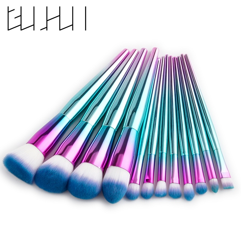 GUJHUI Pro 12pcs Metal Makeup Brushes Set Cosmetic Face Foundation Powder Eyeshadow Eyebrow Blush Lip Plating Make Up Brush Kit professional 10pcs eyeliner eyeshadow eyebrow lip makeup brushes set cosmetic make up brush blush for face mask beauty kit