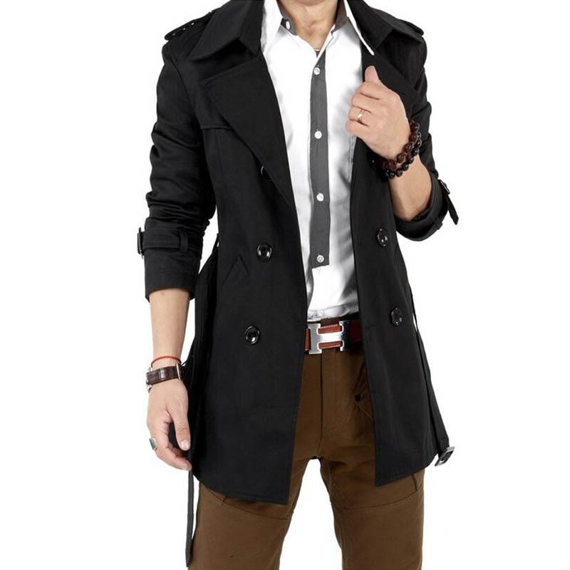 2016 Trench Coat Pria Klasik Ganda Breasted Mens Mantel Panjang - Pakaian Pria - Foto 3
