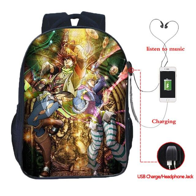 JoJo's Bizarre Adventure Backpack JoJo No Kimyou Na Bouken Jotaro Men Women Boys Girls USB Charging Backpacks School Bags 3