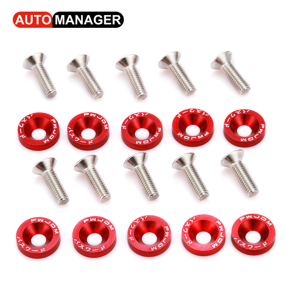 Fender Washers With M6 Bolt fit Any 6mm Hole JDM Style Car Styling License Plate Bolts Modification Aluminum Washer