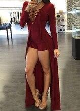 2016 Женская Мода Комбинезон Зашнуровать Дизайн Выдалбливают V-образным Вырезом Макси Наложение Ползунки
