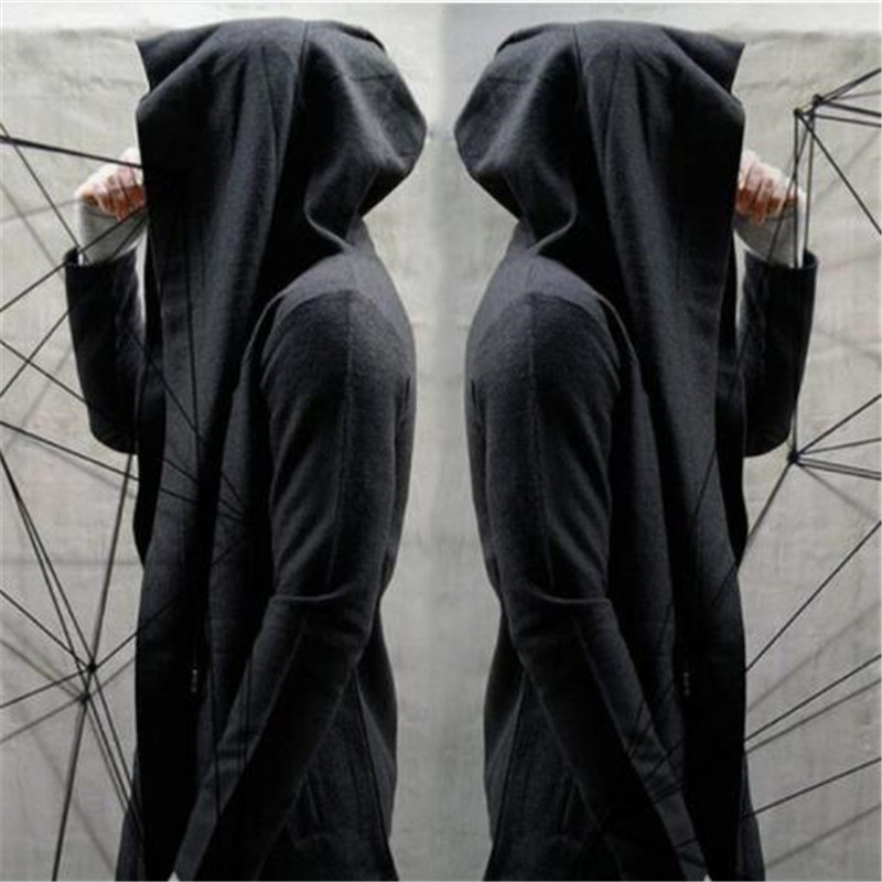 Trench noir à capuche manteau hommes printemps décontracté Long coupe-vent Punk Rock Trench manteau grande taille hommes 2018 pardessus