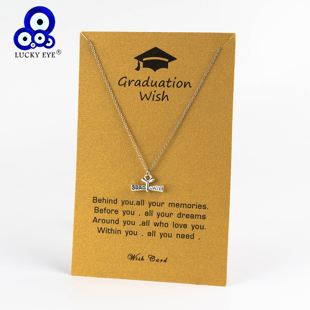 Usd Graduation 2020.Us 1 3 45 Off Lucky Eye 2019 2020 Graduation Pendants Necklaces Square College Cap Diploma Senior Charm Necklace For Women Men Jewelry Cn222 In