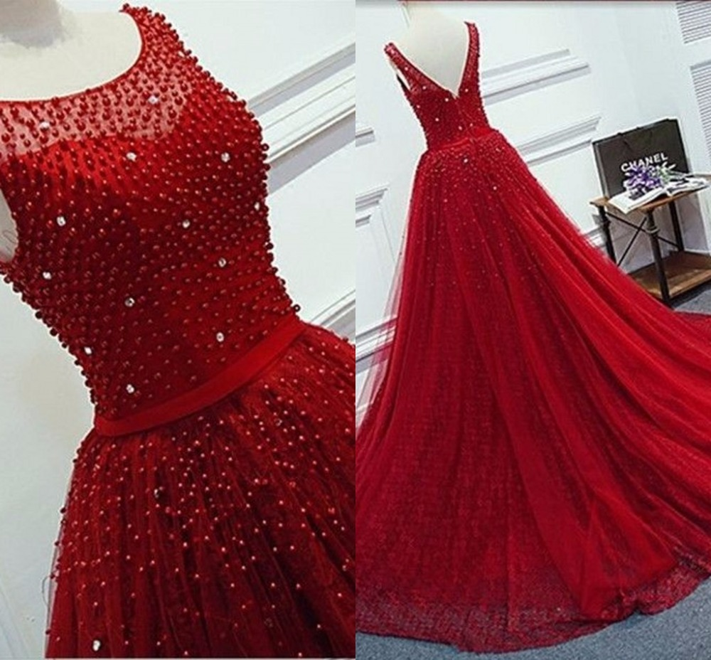 hq reale abbildungen rote abendkleider lang illusion ausschnitt sleeveless  open back perlen abendkleid formal women kleider