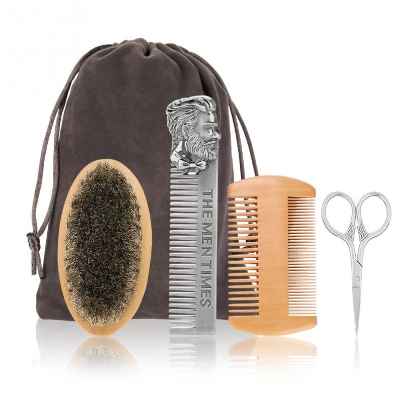 Beard Brush Set Double-sided Styling Comb Scissor Repair Modeling Cleaning Care Kit