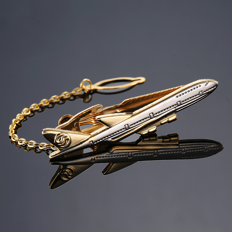 Classical Tie Bar Spitfire Airplane Design Tie Clip Aircraft Tie Pin clips Mens High Quality Wedding Gift Brand Jewelry image