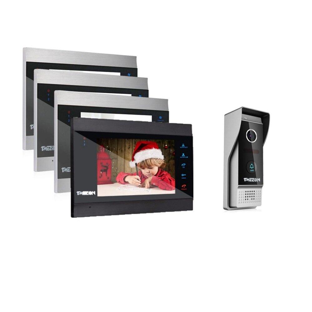 TMEZON 7 pouce Sans Fil/Wifi Smart IP Vidéo Porte Téléphone Système D'interphone avec 4 Nuit Vision Moniteur + 1 imperméable Sonnette Caméra