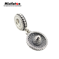 Authentic 925 Sterling Silver Straw Hat Dangle Charm With Thread Hole Fit Pandora Bracelets Jewelry