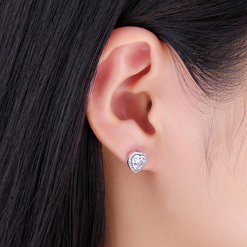 Love Heart CZ Stud Sterling Silver Earrings  3