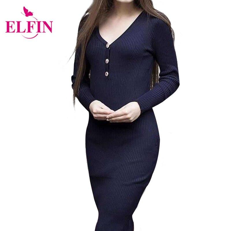 Women Sheath Party Dresses Elegant Button V Neck Slim Bodycon Knitted Sweater Dress Vestidos De Festa WS4028R