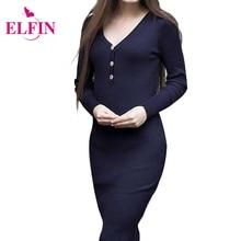 Women Sheath Party Dresses Elegant Button V Neck Slim Bodycon Knitted Sweater Dress WS4028R