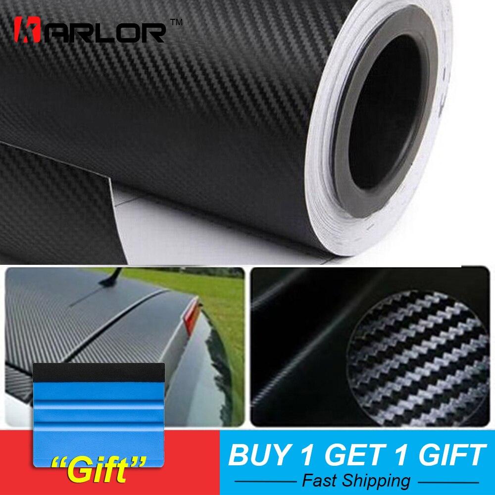 500 cm x 60 cm imperméable à l'eau bricolage moto autocollant voiture style 3D voiture en Fiber de carbone Film en rouleau vinyle d'emballage voiture accessoires décalque Film