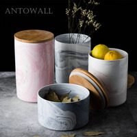 ANTOWALL Nordic minimalist marble pattern with lid ceramic tea cans household large food storage tank sealed jar